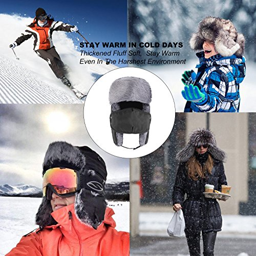 Prooral Unisex Winter Trooper Trapper Hat Hunting Hat Ushanka Ear Flap Chin Strap and Windproof Mask Nylon Russian Style Winter Ear Flap Hat for Men Women (Black.Blue) …