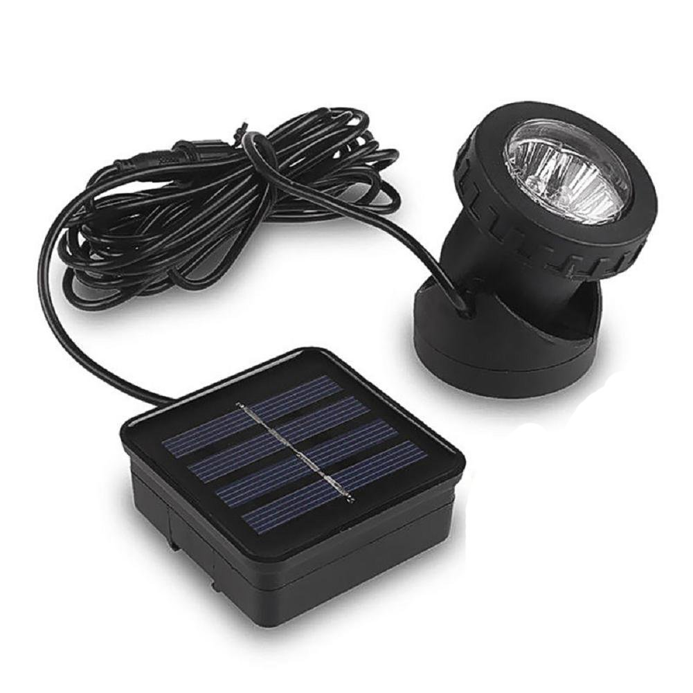 Solar LED Landscape Spotlight, LIYUDL Waterproof 6 LED Pond Light Underwater Light Adjustable Wall Light Security Lighting Dark Sensing Auto On/Off for Outdoor Garden Courtyard Lawn Fish Tank Pool