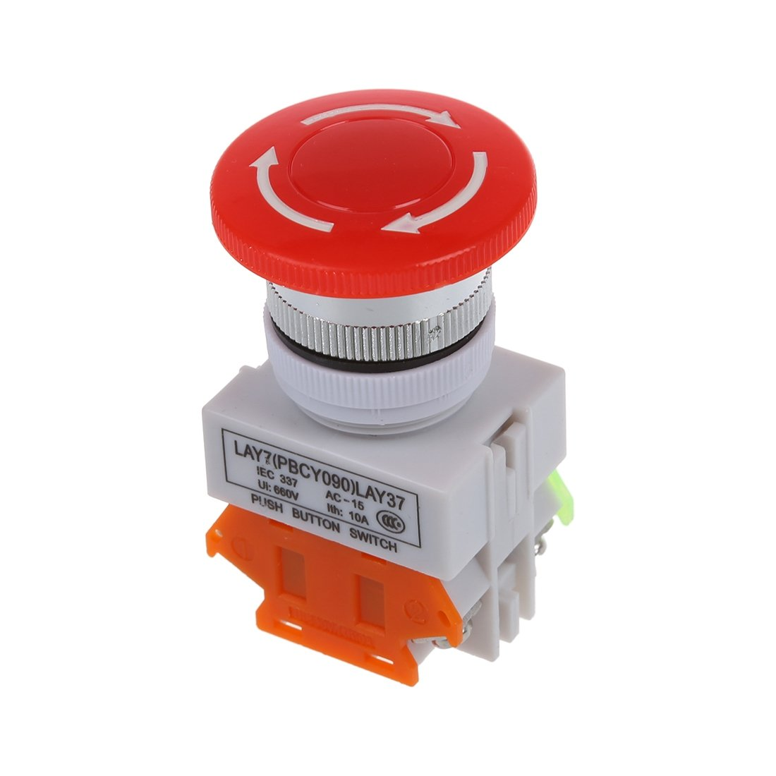 TOOGOO(R) Ui 600V Ith 10A Switch Emergency Stop push button Mushroom
