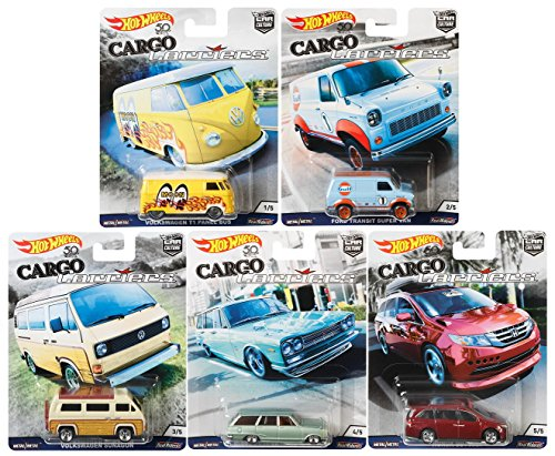 Adult Hot Wheels - Hot Wheels Car Culture 2018 Cargo Carriers Series Premium Adult Collectible Diecast Cars, Set of 5