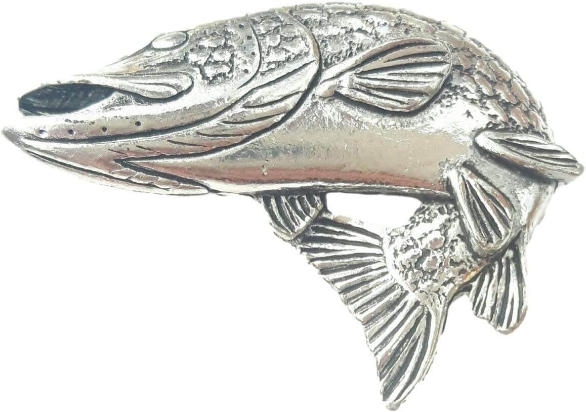 Pike Turning Handcrafted in Solid Pewter In UK Lapel Pin Badge