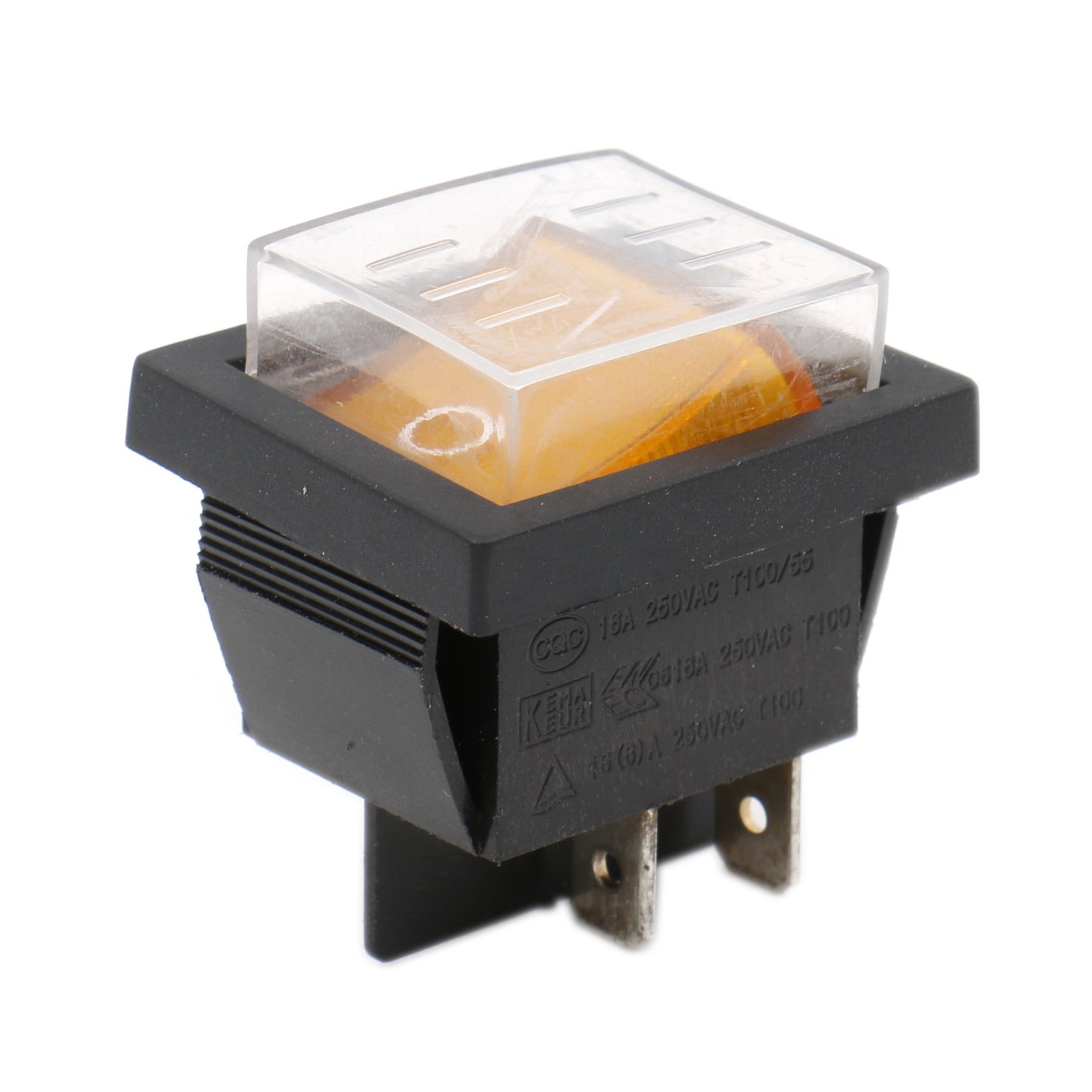 heschen Rocker Schalter ON-OFF-DPST 4 Terminals gelb light 16 A 250 VAC mit wasserfester Abdeckung Ningbo Master Soken Electrical Co.Ltd RK1-01-HS-YP