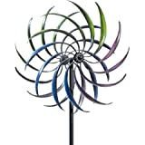 Bits and Pieces The Original Rainbow Wind Spinner - Decorative Lawn Ornament Wind Mill - Tri-Colored Kinetic Garden Spinner