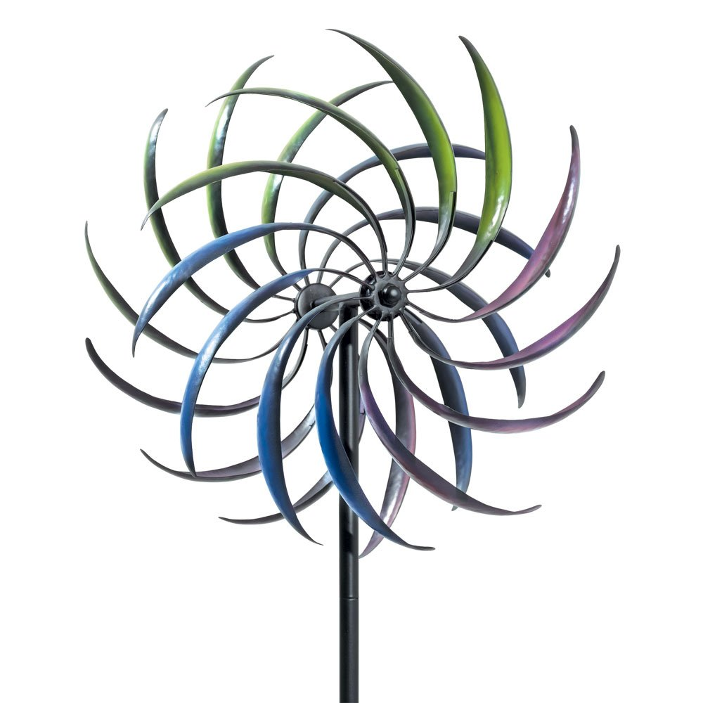 Bits and Pieces - The Original Rainbow Wind Spinner - Decorative Lawn Ornament Wind Mill - Tri-Colored Kinetic Garden Spinner