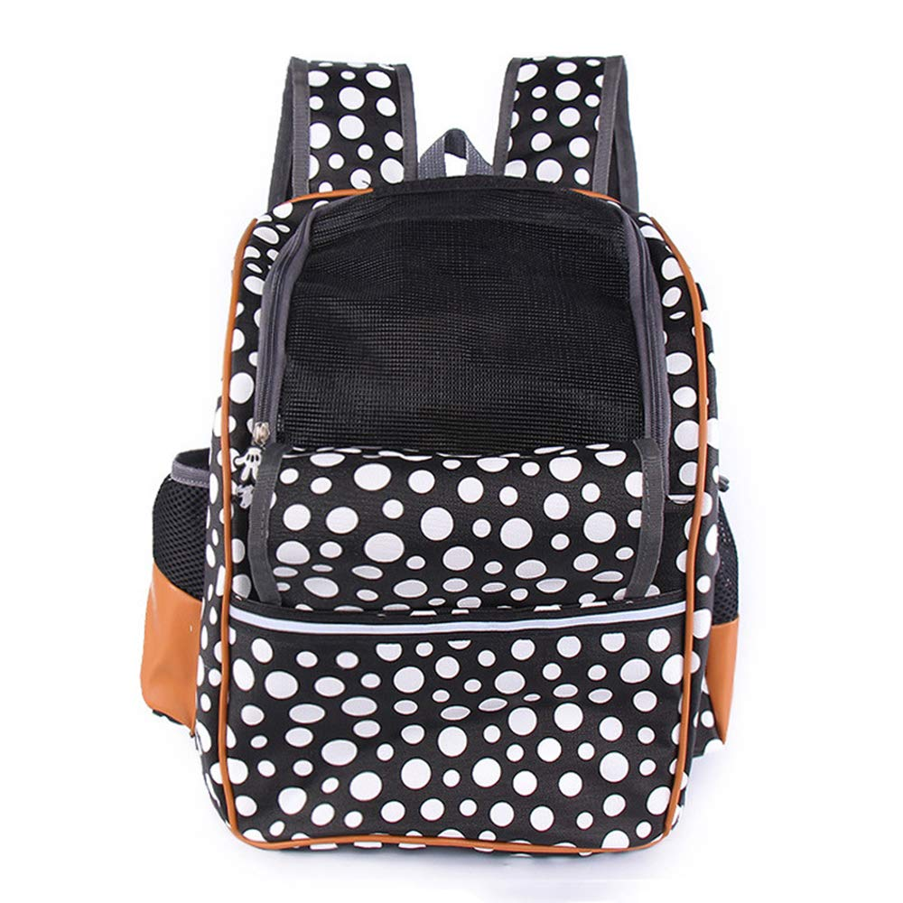 Pet Backpack, Comfortable And Durable Breathable Out Dog Bag Adjustable Hands-Free Travel Backpack(black and white)