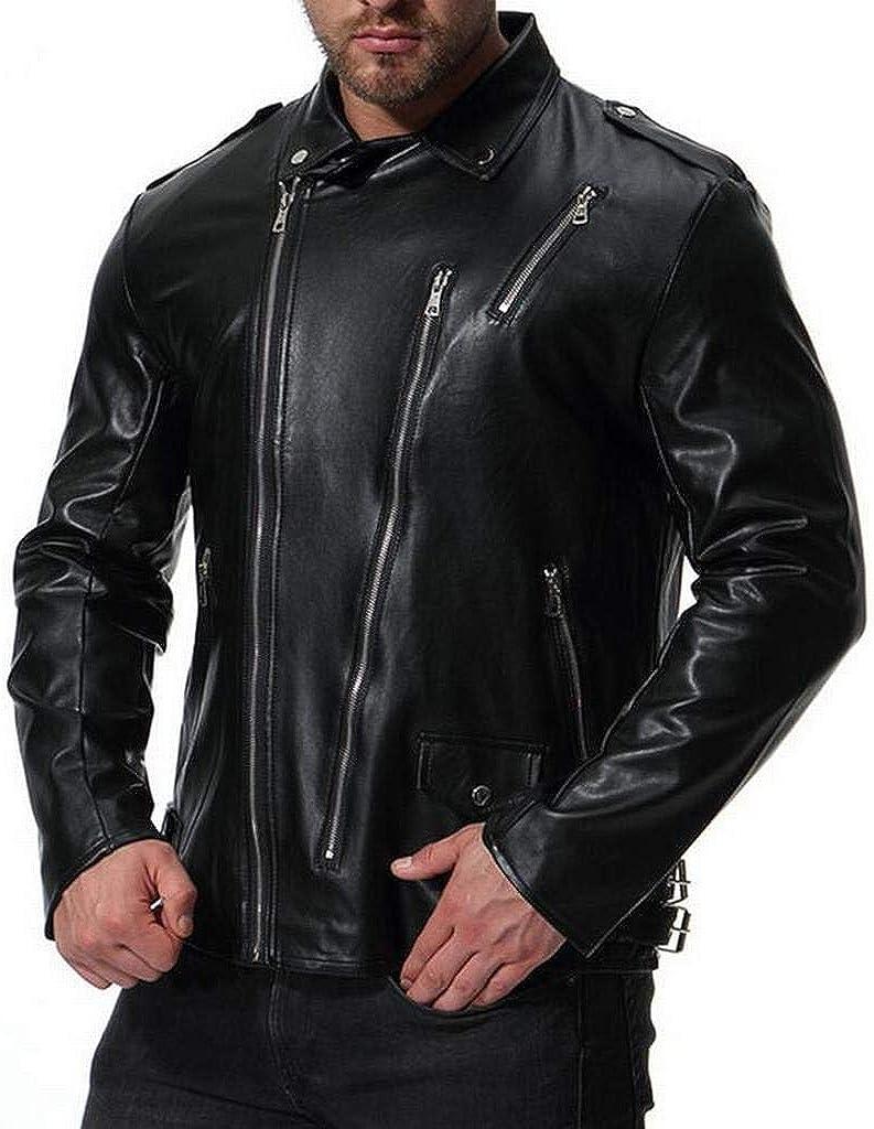 Heless Mens Pu Faux Leather Zipper Casual Moto Biker Regular Fit Jacket Coat Outwear