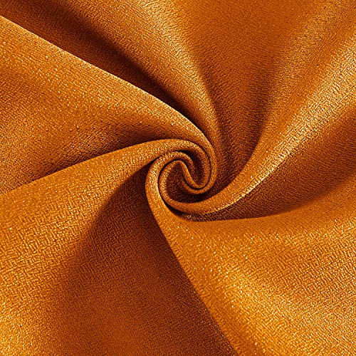 DWCN Semi Sheer Curtains Sunlight Filtering Country Modern Style Draperies 8 Grommets Window Orange Curtain 52x63 inch Long Set of 2 Faux Linen Panels for Living Room by DWCN (Image #1)