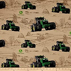 Springs Creative Products John Deere Big Time Farm Multi Fabric By The Yard, Multicolor