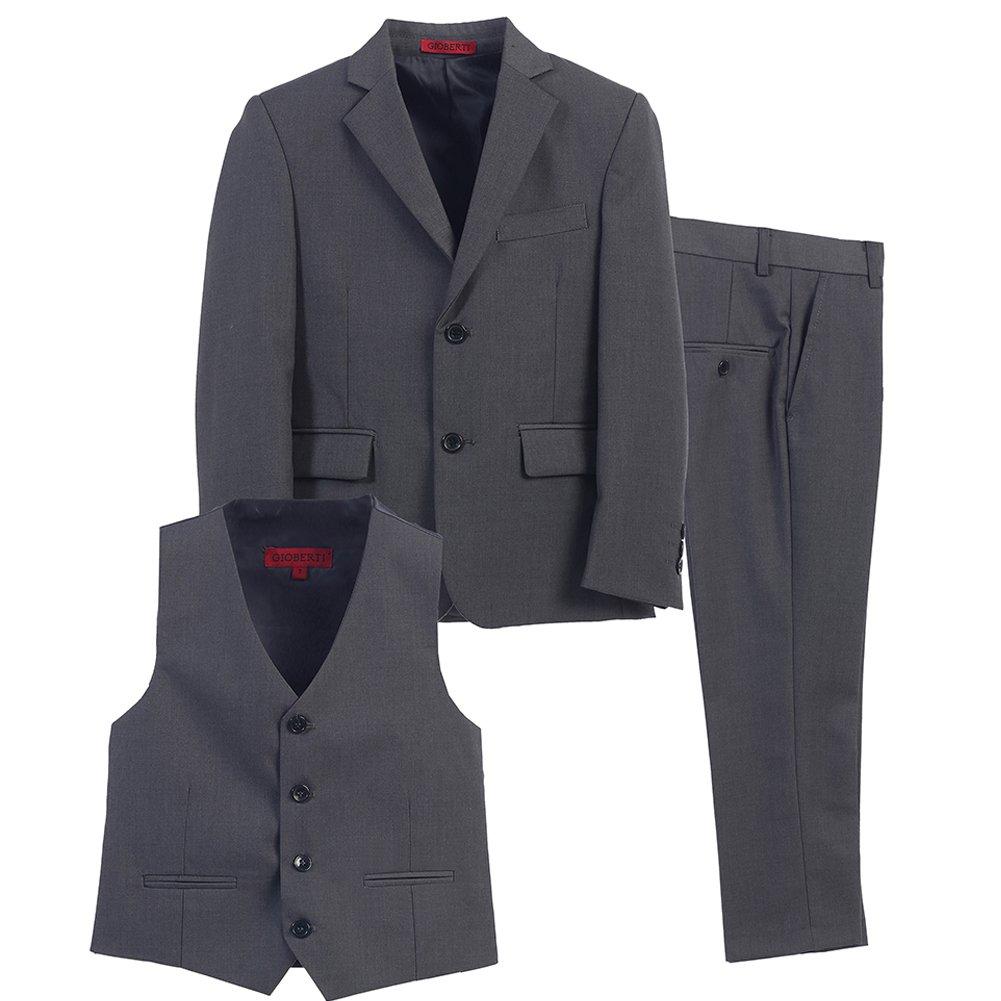 Little Boys Charcoal Vest Pants Jacket Special Occasion 3 Pcs Suit 3T by Bone (Image #2)