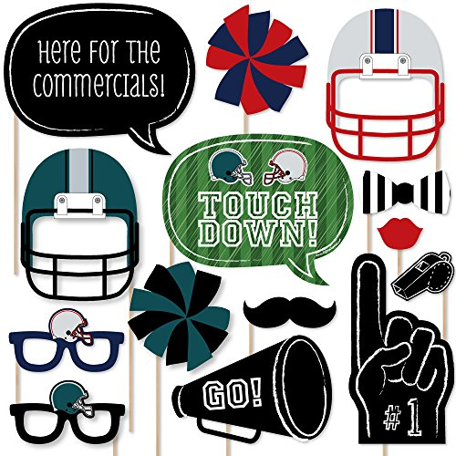 Big Dot of Happiness Super Bowl - Party Photo Booth Props Kit - 20 Count