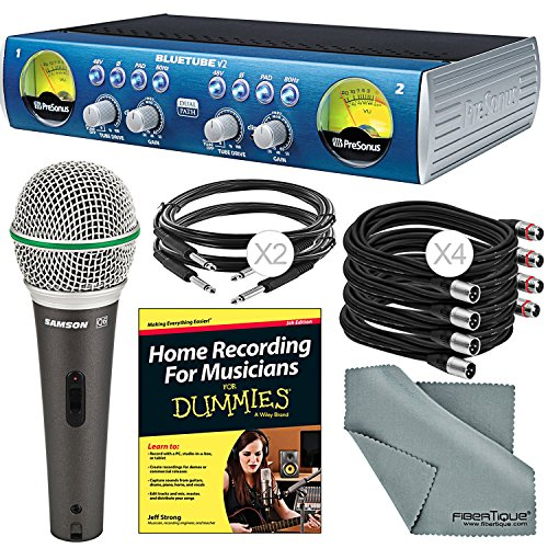 PreSonus BlueTube DP V2 2-channel Mic/Instrument Tube Preamp and Accessory Bundle w/ Samson Q6 Mic + Home Recording for Musicians for Dummies + (Blue Tube Dp Mic Preamp)