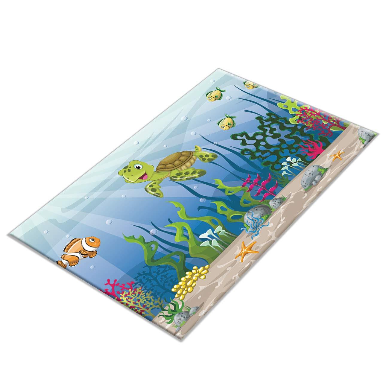 14x2 HVEST Green Palm Leaves Area Rugs Tropical Forest Carpet Non-Slip Doormat for Living Room Bedroom Kitchen Floor Mat,