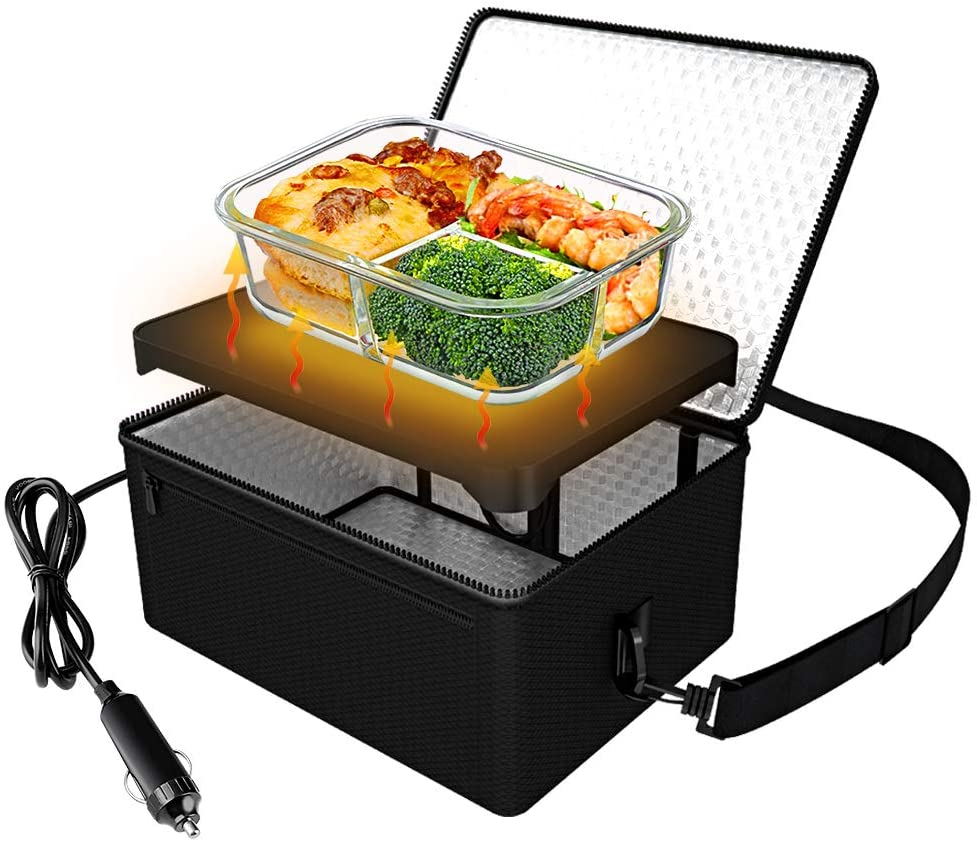 Portable Oven, 24V Portable Food Warmer Personal Portable Oven Mini Electric Heated Lunch Box for Reheating & Raw Food Cooking(Black)