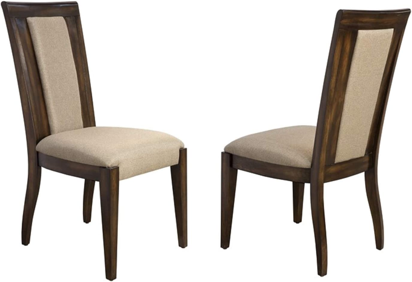 Bombay Cicero Hardwood Upholstered Dining Chairs, Set of 2, Pecan, Brown