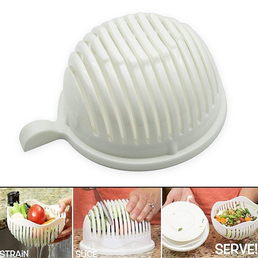 Salad Maker Bowl Fruit and Vegetable Salad Cutter Slicers Bowl to Make Fresh Salad Slicers 22.5 x 18 x 10 cm White Txyk