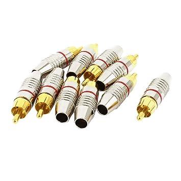 Hogar Audio Conector Sin Soldadura Cable Coaxial RCA Macho Adaptador Enchufe de Metal 10 Piezas