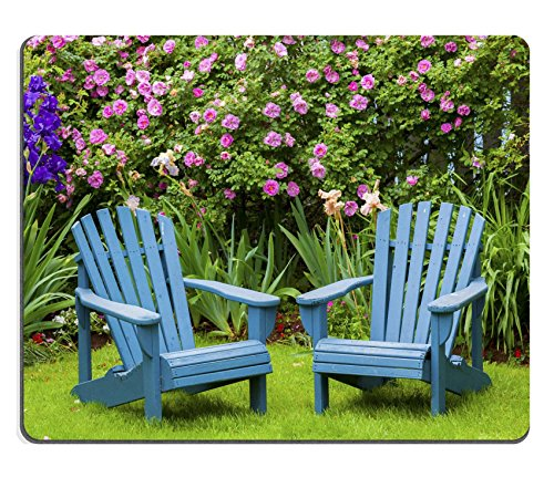 MSD Natural Rubber Gaming Mousepad with the image of  A pair of wooden Adirondack chairs in the summer garden.