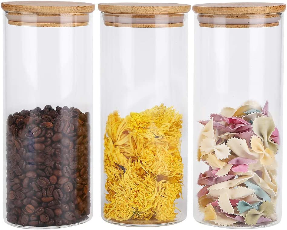 RORA Glass Food Storage Jars Containers with Airtight Bamboo Lids Set of 3 Kitchen Glass Canisters For Coffee, Flour, Sugar, Candy, Cookie, Spice and More,32.5 OZ (950 ML)