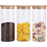 RORA Glass Food Storage Jars Containers with Airtight Bamboo Lids Set of 3 Kitchen Glass Canisters For Coffee, Flour…