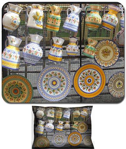 Liili Mouse Wrist Rest and Small Mousepad Set, 2pc Wrist Support Colorful Spanish ceramics in Toledo Spain (Toledo Ceramic)