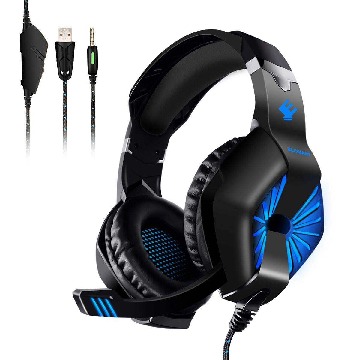 PC Gaming Headset, ELEGIANT ODDGOD Over Ear Computer Headphones with Mic, LED Lights Bass Stereo Surround Sound Volume Control, Compatible with PS4 Xbox One Pro PC Nintendo Switch Smartphone Laptop