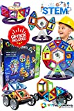 magnet building toys - Magnetic Building Blocks Toys Set - Tiles Block Toy Kit for Kids - STEM Educational Construction Stacking Shapes - Ferris Wheel and Vehicle Set - 74 pieces