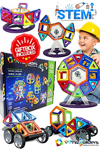 Magnetic Building Blocks Toys Set - Tiles Block Toy Kit for Kids - STEM Educational Construction Stacking Shapes - Ferris Wheel and Vehicle Set - 74 pieces from WhizBuilders