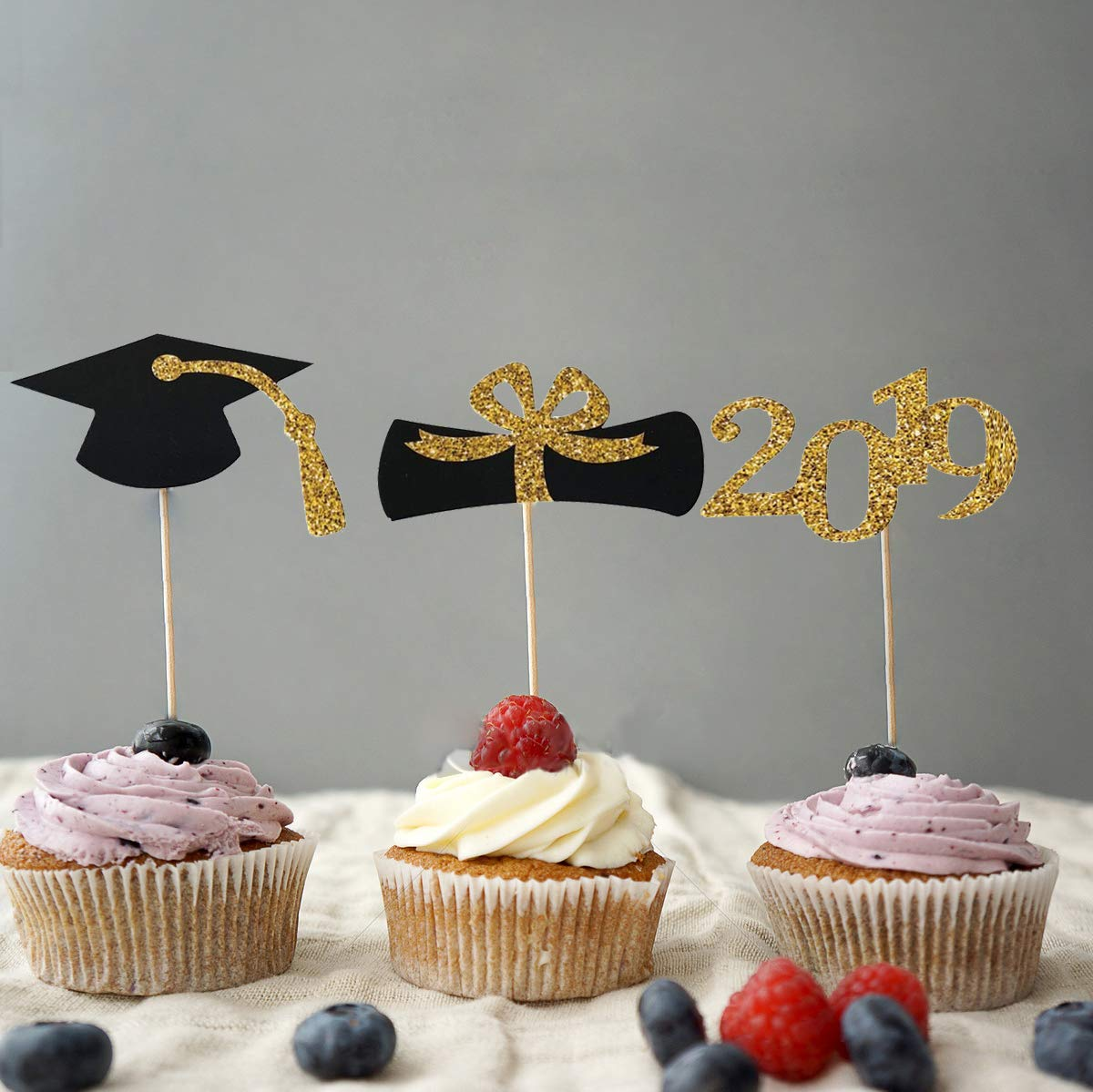 Black and Gold Cupcake Decorations 48pcs Graduation Cupcake Toppers 2019 Graduation Party Decorations