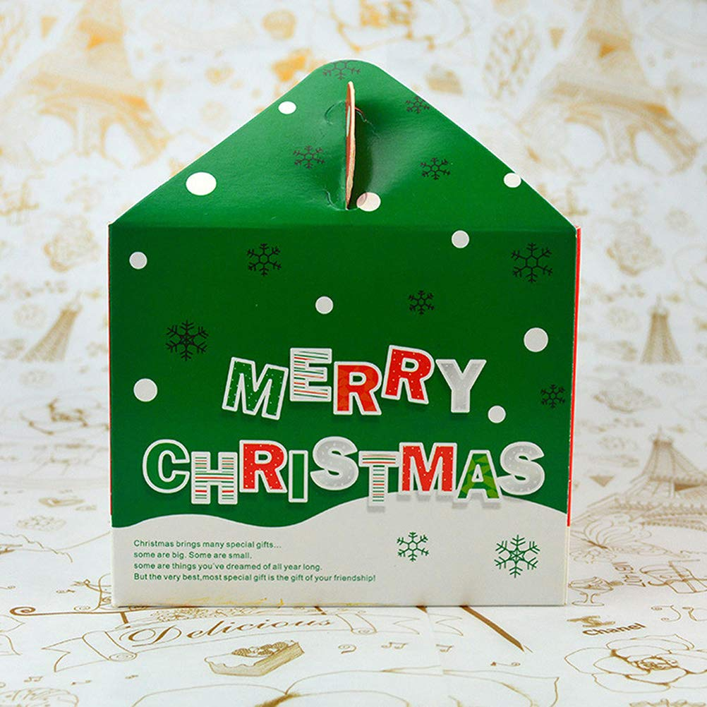 Toyvian 10pcs Christmas Cake Boxes with Snowman Pattern Cupcake Boxes Portable Cookie Baking Muffin Boxes Xmas Holiday Birthday Party Boxes with Handle