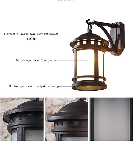 Kuan-Wall lamp Aplique de Exterior, iluminación de jardín, lámpara de Pared Retro para Exterior, iluminación de jardín, Adecuada para Pasillo de Pasillo de Pared Exterior de balcón (sin Bombilla).: Amazon.es: Hogar