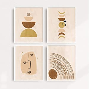 Modern Abstract Wall Art Prints Home Decor 8x10 Prints - Set of 4 Paintings of Mid Century Modern Abstract Art Prints Natural Scene Art Wall Decor Wall Art Minimalist Painting Minimal Wall Art UNFRAMED