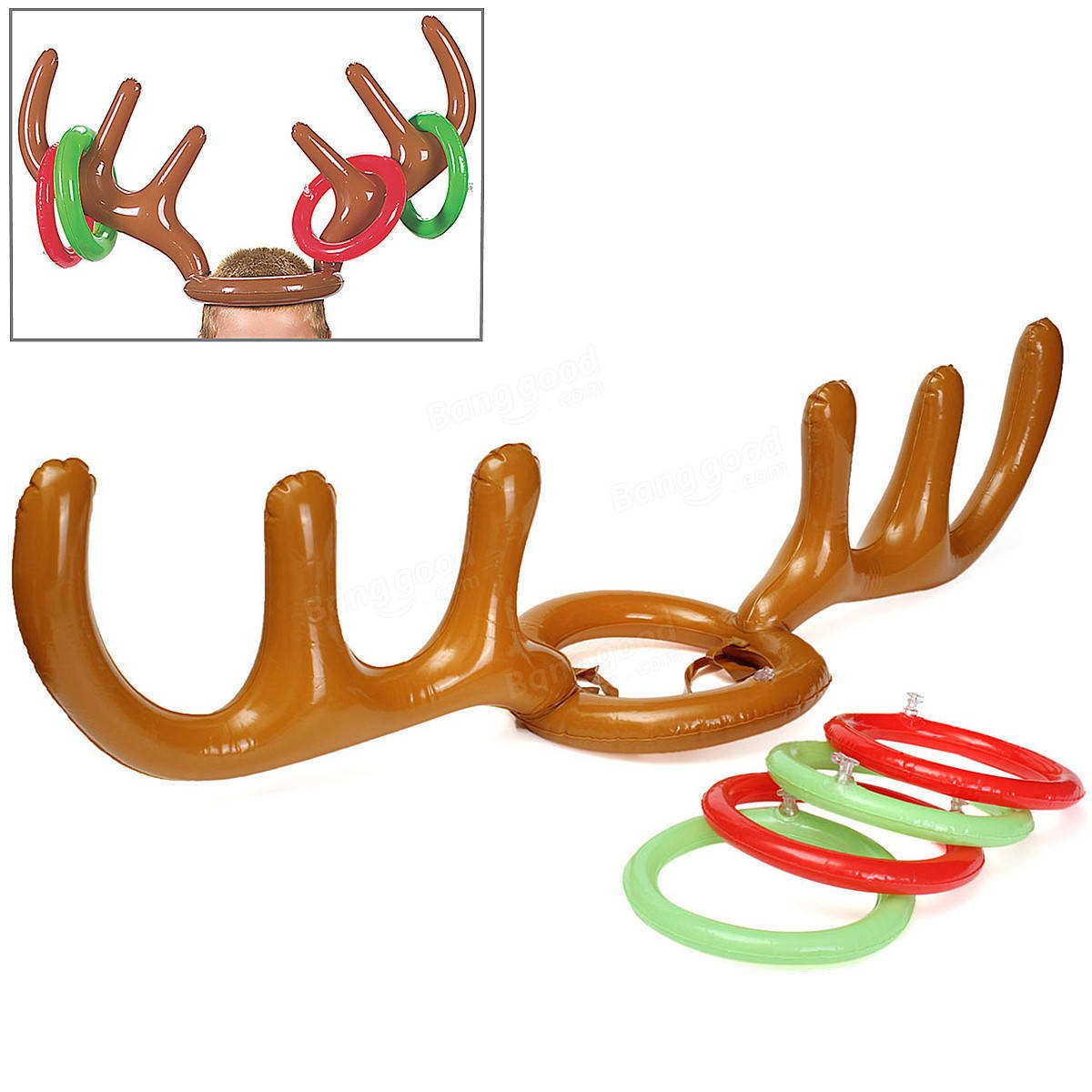 Tintinnabulation Chuck - Set Child Inflatable Santa Funny Reindeer Antler Hat Toss Christma Party Game Supply Toy - Knell Dispose Mob Pass Halo Fling Closed Chain Encircle Slash - 1PCs by Unknown