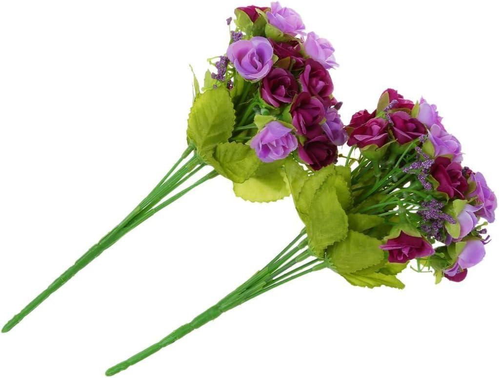 2PCS Bouquet Artificiel 40 Roses Violet Fleurs pour Mariage Mariee R TOOGOO