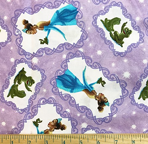 - 1/2 Yard - The Princess & the Frog on Lavender Cotton Fabric - by Thomas Kinkade (Great for Quilting, Sewing, Craft Projects, Blankets, Throw Pillows & More) 1/2 Yard x 44