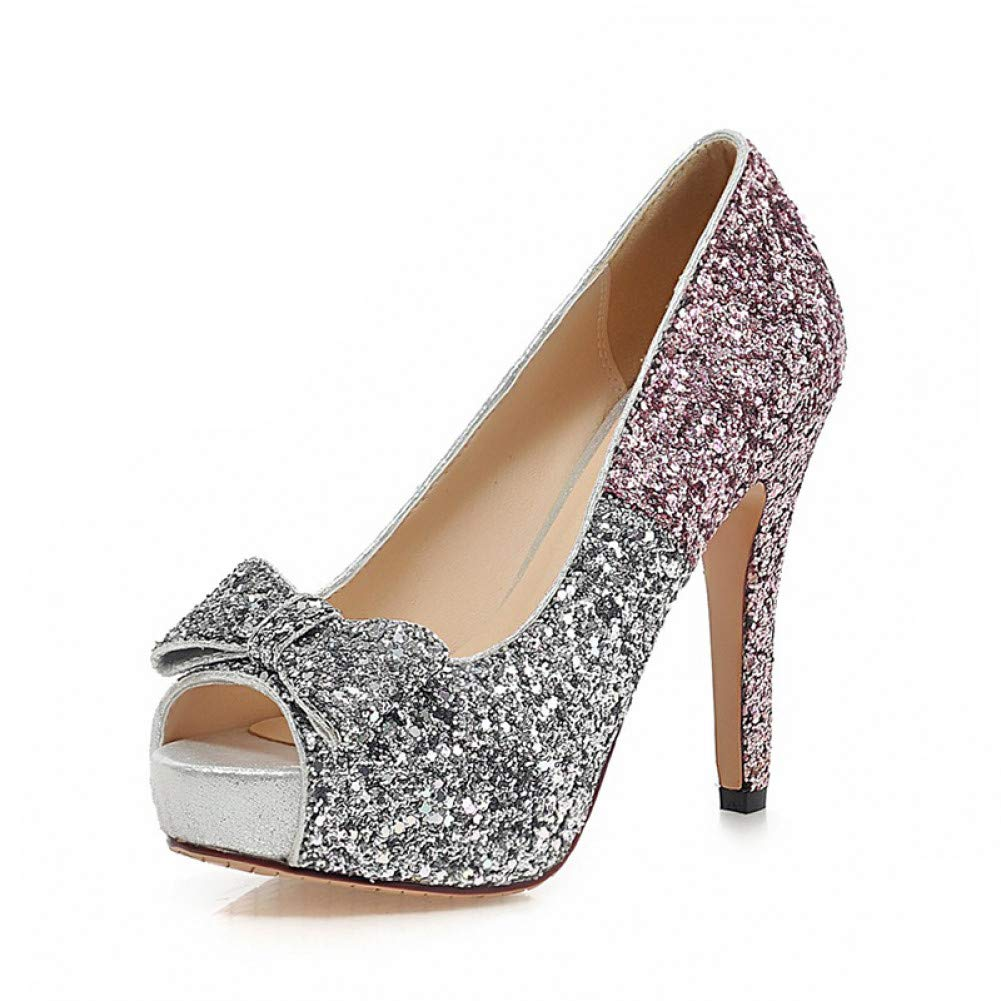 Ai Ya-liangxie Große Größe Größe Größe 34-43 Peep Toe Plattform Frauen Schuhe Frau Sexy Bowtie Bling Thin High Heels Party Hochzeit Pumpen 3e5c44