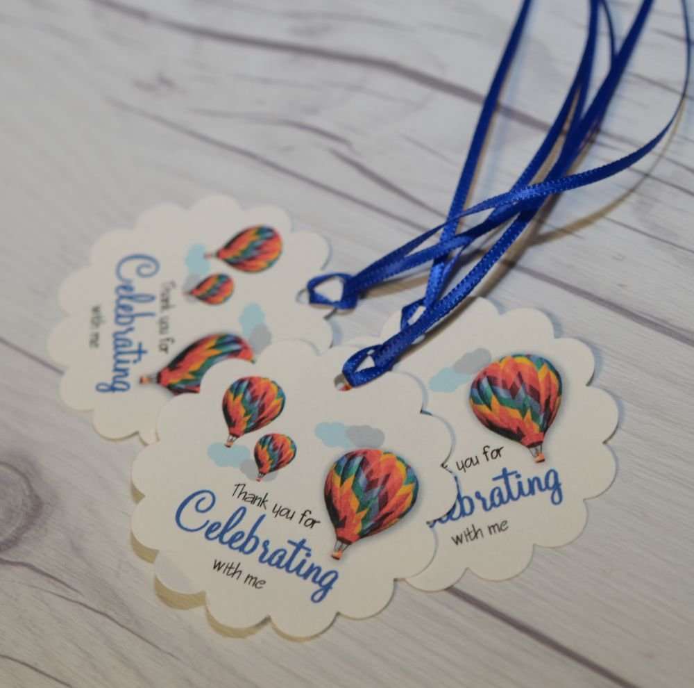 Party Favor Tags - Thank you for celebrating favor tags - Hot Air Balloons Favors Tags - Set of 40 tags