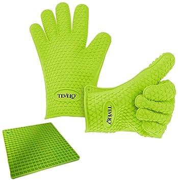 Premium guantes de cocina + conjunto de alfombrilla de silicona antiadherente mejor, de silicona resistente