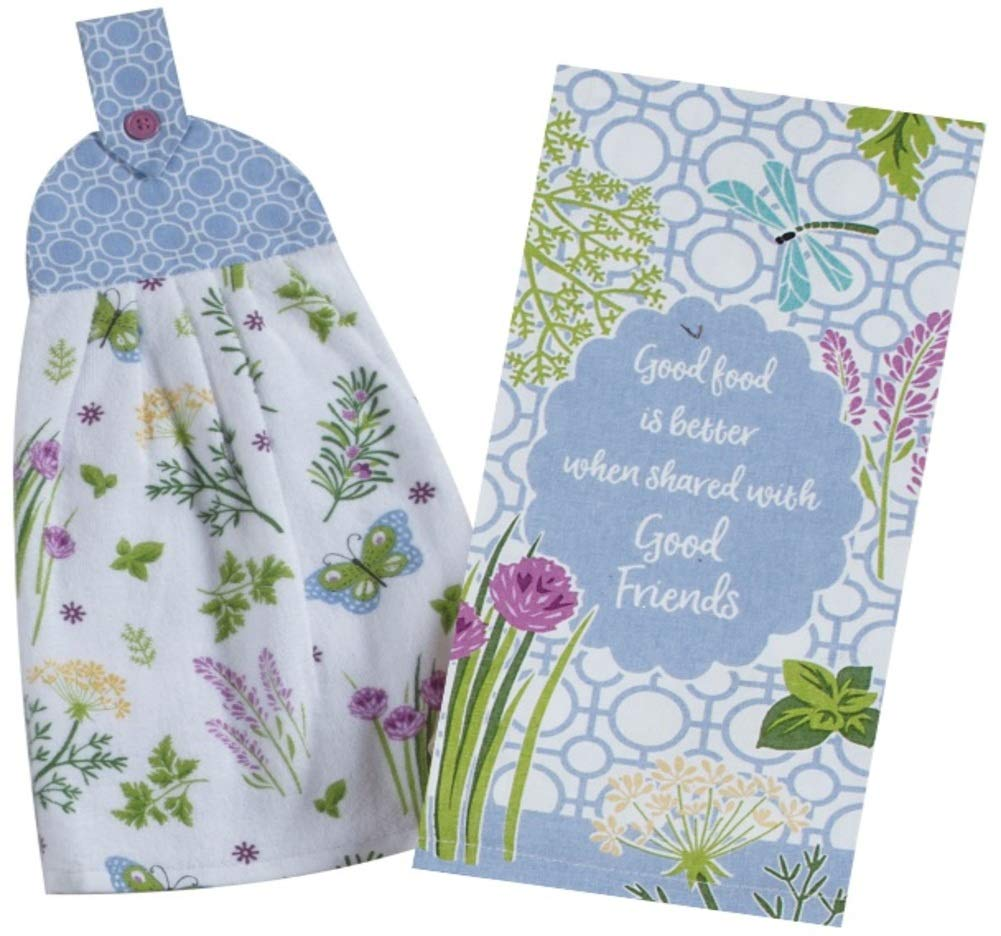 2 Butterfly and Herb Garden Themed Decorative Cotton Kitchen Towels Set | 1 Hanging Loop Button Tie Towel and 1 Tea Towel for Dish and Hand Drying | by Kay Dee Designs