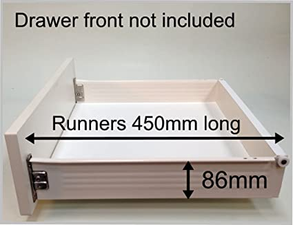 Replacement kitchen drawer box (shallow), complete kit including runners.  FROM £17.70 (07- For 500 wide base with 15mm thick sides)