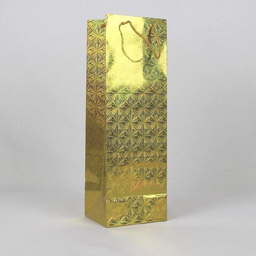 12 Gold Paper Carrier/Gift Bottle Bags