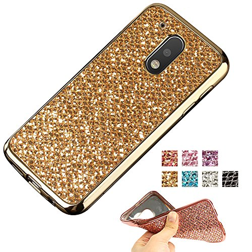 Moto G4 Case, Moto G4 Plus Glitter Case, AMASELL TPU Bumper Frame and Bling Soft Silicone Back Shell Cover for Motorola Moto G 4th Gen (2016) / Motorola XT1625 / XT1644, Gold