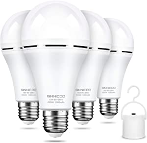 Rechargeable Emergency Light Bulb(4 Pack) Daylight 6500K LED Battery Backup for Power Outage Failure 15W 80W Equivalent 1200mAh with Hook E26/27 Base Light Bulbs Widely Used in Home Camp Hiking