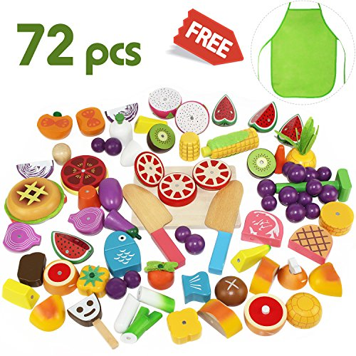 Cutting Food Set (Cutting Cooking Set, Wooden Pretend Play Food Kitchen Kids Toys Gift, Fruit Magnetic, Early Development Educational, Learning for 2, 3, 4, 5, 6 Year Old kids, Toddlers, Boys,Girls - iPlay, iLearn)