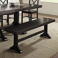 WE Furniture Solid Wood Black Dining Bench