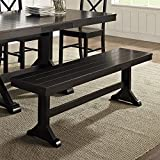 WE Furniture Solid Wood Black Dining Bench Review