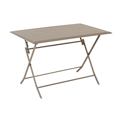Table pliante rectangulaire Azua - 4 Places - Taupe: Amazon ...
