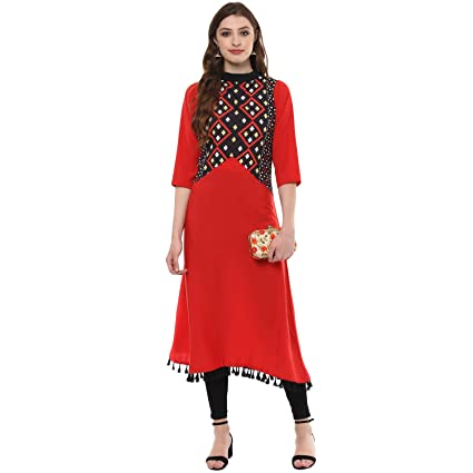 Ziyaa Women's Multi Digital With Tassels Aline Crepe Kurta Kurtas at amazon