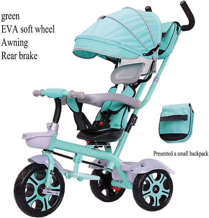 LZQBD Childrens Fun/Bicicletas for niños Triciclo Ciclismo Carro de bebé del Cochecito, Asiento Giratorio, 3-en-1 de Bicicletas, 75x55x90cm, 1-6 años, (Color : D3): Amazon.es: Hogar