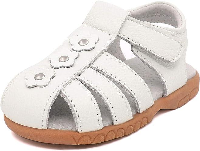 Femizee Kid Girls Leather Sandals Toddler Little Girls Princess Dress Shoes