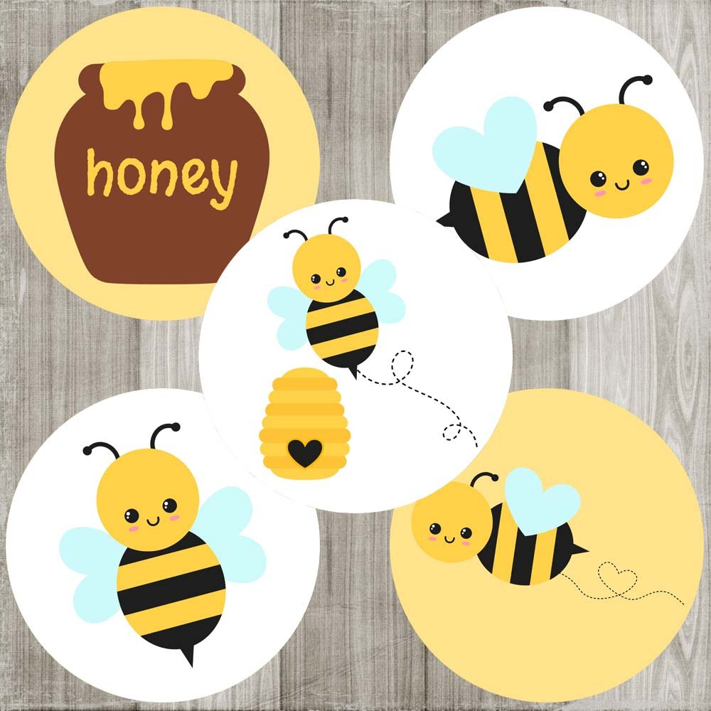 Bumble Bee Sticker Labels - Boy Girl Children Kids Birthday or Baby Shower Party Favors - Set of 50